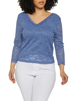 Plus Size Blue Tops for Women