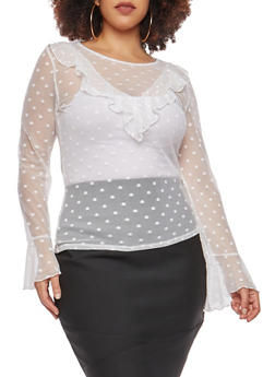 Plus Size Mesh Polka Dot Top - 1912054265870