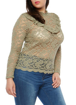 Plus Size Ruffle Trim Sheer Lace Top - 1912054265871