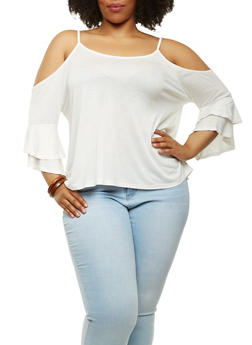 Plus Size Tiered Sleeve Cold Shoulder Top - 1912054265879