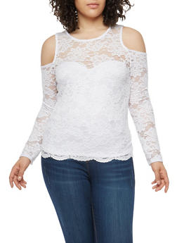 Plus Size Lace Cold Shoulder Top - 1912054267041