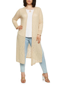 Plus Size Knit Duster - 1912054268064
