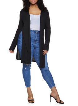 Plus Size Split Side Rib Knit Cardigan - Black - Size 1X - 1912054268384