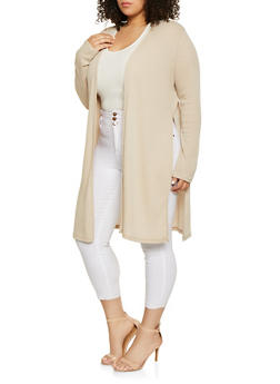 Plus Size Split Side Rib Knit Cardigan - 1912054268384