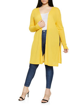 Plus Size Split Side Rib Knit Cardigan - 1912054268384