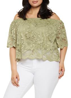 Plus Size Lace Off the Shoulder Top - 1912054269238