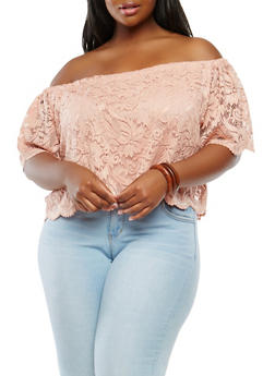 Plus Size Lace Off the Shoulder Top - 1912054269238