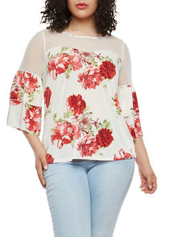 Plus Size Floral Mesh Tier Sleeve Top - 1912056122649