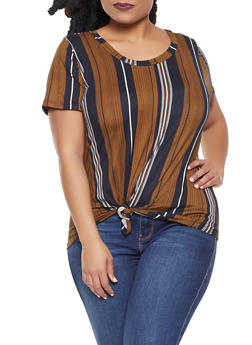 Plus Size Striped Tie Front Tee - 1912058750058
