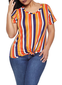 Plus Size Striped Tie Front Tee - 1912058750373