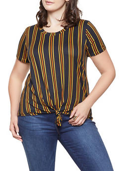Plus Size Tie Front Tee with Stripes - 1912058750456