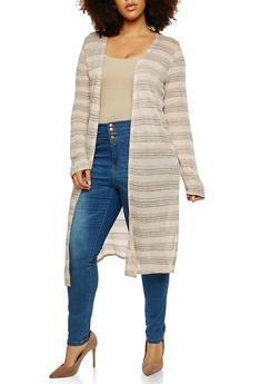 Plus Size Striped Open Front Duster - 1912058750457