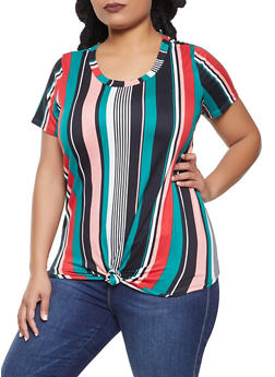 Plus Size Striped Tie Front Tee - 1912058750459