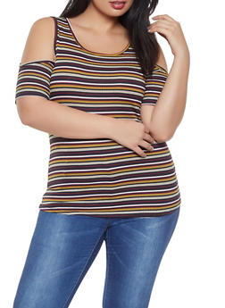 Plus Size Striped Cold Shoulder Top - 1912058750462