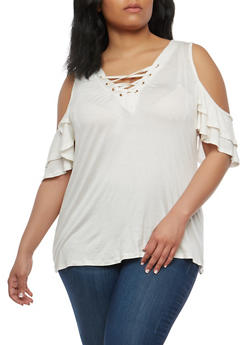 Plus Size Tiered Sleeve Cold Shoulder Top - WHITE - 1912058750463