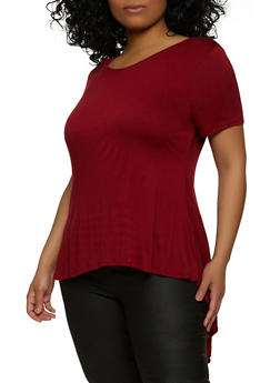 Plus Size Scoop Neck High Low Top - 1912058750729