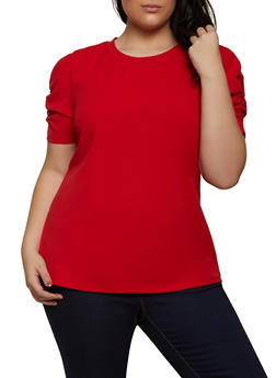 Plus Size Ruched Sleeve Top - 1912058750944