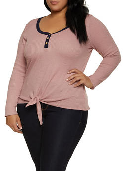 Plus Size Contrast Trim Thermal Top - 1912058751273