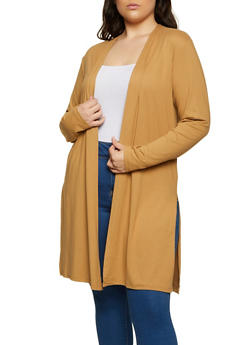 Plus Size Side Slit Soft Knit Duster - 1912058751812