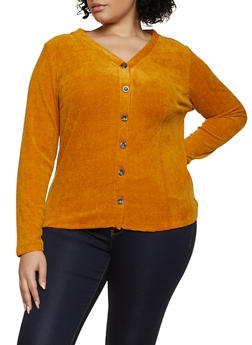 Plus Size Long Sleeve Chenille Top - 1912058751827