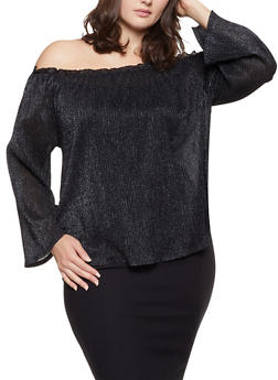 Plus Size Shimmer Knit Off the Shoulder Top - 1912058751829