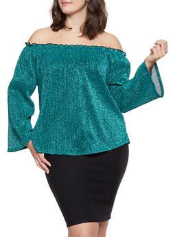 Plus Size Shimmer Knit Off the Shoulder Top - 1912058751829