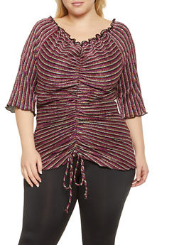 Plus Size Shimmer Knit Ruched Top - 1912058751836