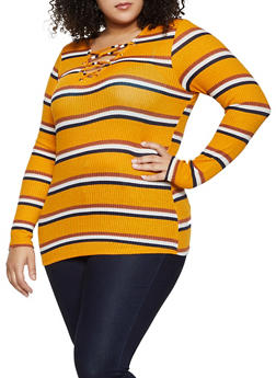 Plus Size Striped Lace Up Sweater - 1912058751868