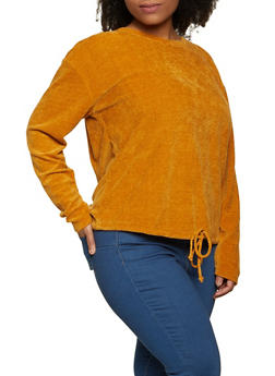 Plus Size Chenille Long Sleeve Top - 1912058751900