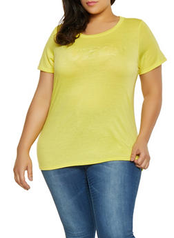 Yellow 3X Graphic Tops