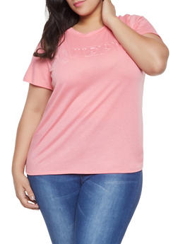 Pink 2X Graphic Tops