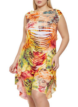 Plus Size Slashed Tie Dye High Low Top - 1912058752098