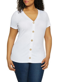 Plus Size Ribbed Knit Faux Button Tee - 1912058752162