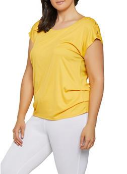 Plus Size Button Shoulder Ruched Top - 1912058752163