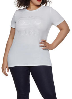 Plus Size Embossed Graphic Rib Knit Tee - 1912058752164