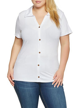 Plus Size Faux Button Collared Tee - 1912058752165