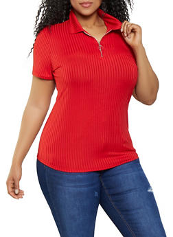 Plus Size Half Zip Collared Tee - 1912058752166