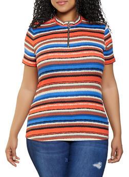 Plus Size Striped Zip Neck Rib Knit Top - 1912058752169