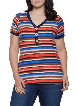 Plus Size Striped Rib Knit Tee - 1912058752170