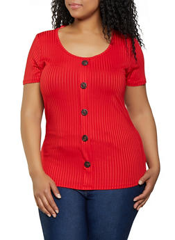 Plus Size Faux Button Scoop Neck Tee - 1912058752172