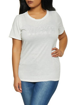 Plus Size Blessed 3D Graphic Tee - 1912058752191