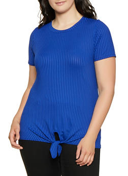 Plus Size Rib Knit Tie Front Top | 1912058752194 - 1912058752194
