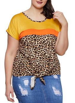 Plus Size Color Block Leopard Print Tee - 1912058752821
