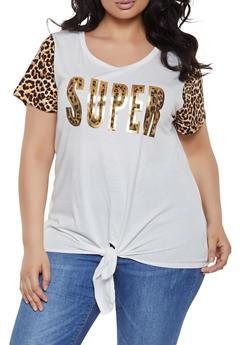 Plus Size Super Leopard Print Tie Front Tee - 1912058752823