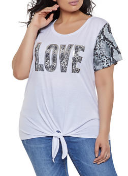 Plus Size Love Graphic Snake Print Tee - 1912058752824