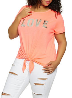 Plus Size 3D Foil Love Graphic Tee - 1912058752826