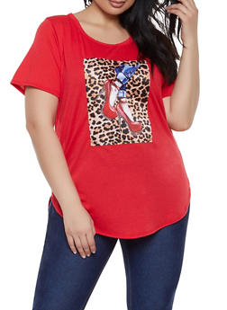 Plus Size Leopard Patch Tee - 1912058752829