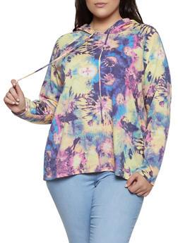 Plus Size Tie Dye Hooded Sweatshirt | 1912058753566 - 1912058753566