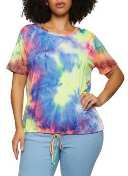 Plus Size Tie Dye Ribbed Drawstring Top - 1912058753616