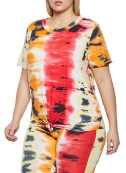 Plus Size Tie Dye Short Sleeve Tee - 1912058753892